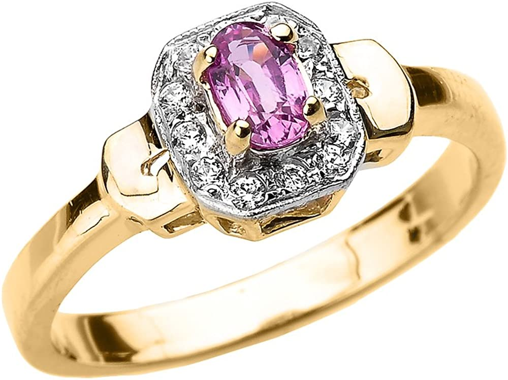 Solid 10k Yellow Gold Beautiful Diamond and Pink Sapphire Engagement Ring