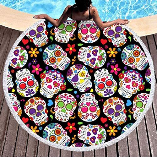 Toalla de playa con diseño de calavera, redonda, grande, microfibra, hippie y bohemia, toalla de playa, alfombra para yoga, esterilla de picnic, multicolor, 150 cm