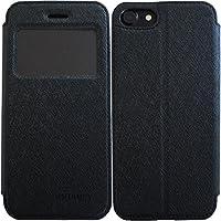 窓付き シンプル 薄型アイフォンケース 手帳型 マグネット タイプ (iphoneX, ブラック)