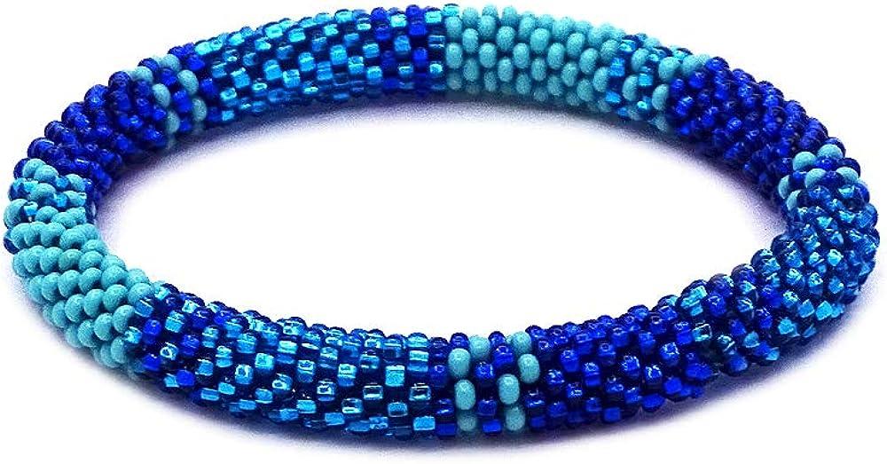 Mia Jewel Shop Tribal Striped Pattern Guatemalan Czech Glass Seed Beaded One Size Fits All Bangle Bracelet - Womens Fashion Handmade Jewelry Boho Accessories