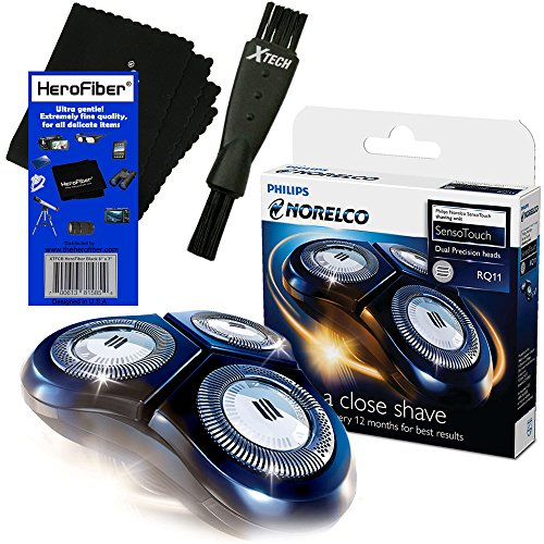 Philips Norelco RQ11 Replacement Head for 1100 Series / SensoTouch 2D 1150X, 1160X, 1170X & 1180X Electric Shavers + Double Ended Shaver Brush + HeroFiber Ultra Gentle Cleaning Cloth