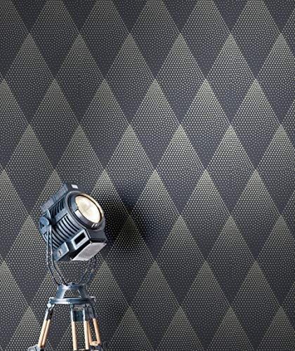 NEWROOM Tapete Schwarz Vliestapete Leicht Glänzend - Retro Modern Gold Rauten Punkte Mustertapete Grafisch Metalic inkl. Tapezier-Ratgeber