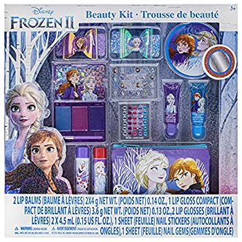 Disney Frozen 2 - Townley Girl Super Sparkly Cosmetic Beauty Makeup Set For Girls with Clips Press On Nail Lip Gloss Nail Stickers Lip Balm Nail Gems and Mirror For Parties Sleepovers & Makeovers