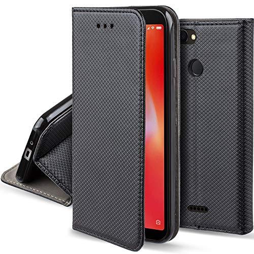 Moozy Funda para Xiaomi Redmi 6, Negra - Flip Cover Smart Magnética con Soporte y Cartera para Tarjetas