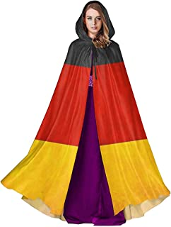 Swswhbg Unisex Hooded Cloak German Flag Medieval Cape Robe for Halloween Christmas Cosplay Party Costume Supplies