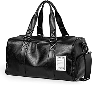 SPAHER Large Men's Leather Travel Duffle Bag Weekender Overnight Bag Gym Sports Tote Handbag Crossbody Carry On Holdall with Shoe Compartment for Men Women Black
