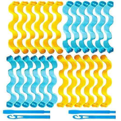 Xkfgcm 24 Pezzi Kit per Lo Styling dei Bigodini per Styling Riccioli a Spirale Rulli per Capelli Senza Calore Bigodini Stile Onda con Ganci per Lo Styling Strumenti per Lo Styling dei Capelli Lunghi