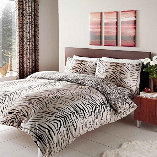 Gaveno Cavailia Luxury TIGER SKIN Bed Set With Duvet Cover and Pillow Case, Polyester-Cotton, Brown , Double