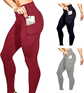 Bodybay Women's High Waist Yoga Pants with Pocket, Tummy Control Pants 4 Way Stretch Leggings for Workout Gym