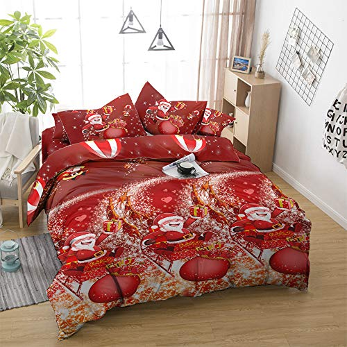 Jessy Home Christmas Bedding Twin Size Christmas Duvet Cover Red Print Quilt Cover Holiday Bedding Santa Claus Pattern Soft Microfiber Cartoon Christmas Bed Set 3Pcs Cute Christmas Duvet Cover Set