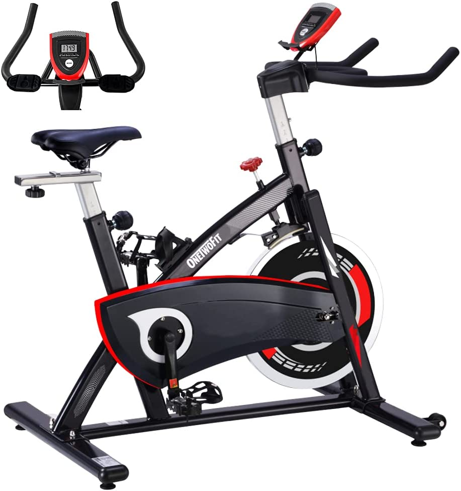 OneTwoFit Indoor 未使用品 Cycling Bike Exercise Heavy 予約 Fl 44LBS with