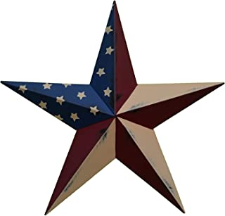 AMISH WARES 40 Inch Rustic Old Glory Flag Star Made with Galvanized Metal to Prevent Rusting. American Handcrafted - Made in the USA!