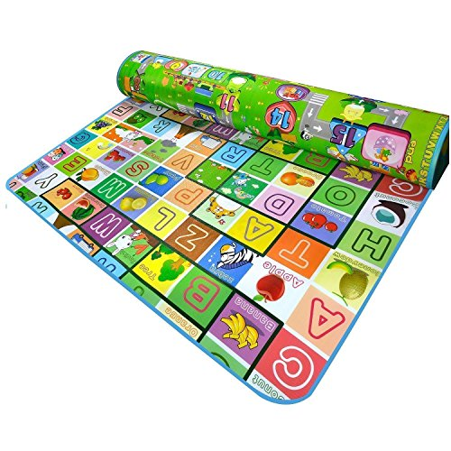 DKdas Baby Kids Mats with Bag and Double Sided Play and Crawl Mats Water Proof, Playmate for Babies and Multi Designer Green Color (Size - 6 Feet X 4 Feet)