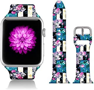 FTFCASE Sport Bands Compatible with iWatch 38mm/40mm Geometric Pattern - Pink Flower, Flower Printed Soft Silicone Strap Replacement for iWatch 38mm/40mm Series 4/3/2/1 Women Men
