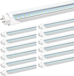 JESLED 4FT T8 LED Tube Light Bulbs, 24W 5000K Daylight White, 3000LM, 4 Foot T12 LED Replacement for Flourescent Tubes, Ballast Bypass, Dual-end Power, Clear, Garage Warehouse Shop Lights (12-Pack)