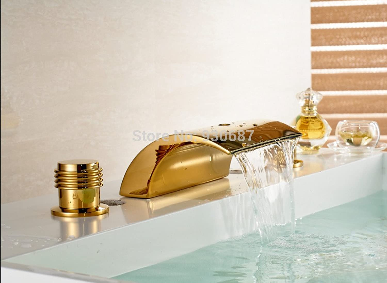 Retro Deluxe FaucetingModern gold -Plate Bathroom Sink Faucet Dual Handles Mixer Tap Countertop
