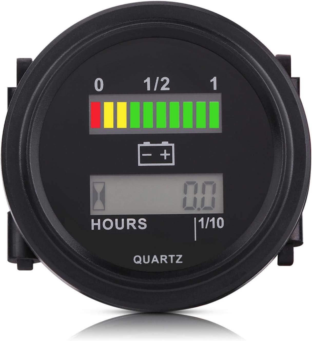 Medidor de indicador LED de batería, 12V/24V/36V/48V/72V Medidor de indicador de batería digital LED Voltímetro digital LED con medidor de horas apto para carrito de golf