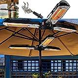 Electric Parasol/Umbrella Heater, 2KW Infrared Patio Heater Outdoor Heaters Super Quiet 3s Instant Warm IP34 Waterproof With 3 Adjustable Power Settings Mount To Ceiling/Umbrella,Black