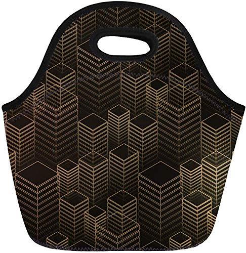 haoqianyanbaihuodian Bolsas de almuerzo abstractas filas de edificios geométricos en neopreno dorado y negro lonchera bolsa de almuerzo bolsa de almuerzo bolsa portátil de picnic bolsa de nevera