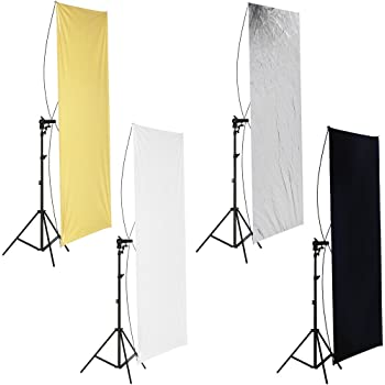 KMCMYBANG Photographic Reflector 4-in-1 Metal Flag Panel Set Gold Silver Black White Flat Panel Light Reflector with 360 Degree Rotating Holding Bracket,150x200CM Photographic Light Board