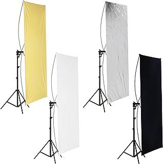 Neewer 40x55inches/100x140cm照明レフ板 ゴールド/シルバー 黒/白 360度回転ブラケット キャリーバッグ付 スタジオ撮影に対応