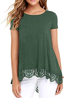 QIXING Women's Tops Short Sleeve Lace Trim O-Neck A-Line...