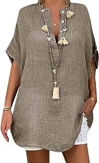 Loyomobak Women V Neck Plus Size Short-Sleeve Solid Color Button Down Loose Fit T-Shirt Top Blouse
