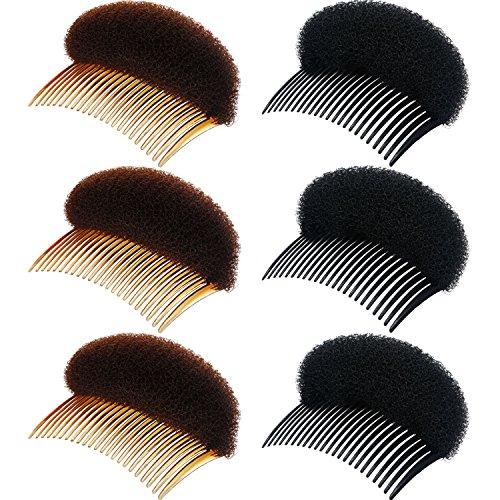 6 Piezas de Inserto de Base de Pelo de Volumen de Mujer Almohadilla de Pelo de Subir Clip de Peinado Herramientas de Trenzado de Peine Accesorios de Pelo (Negro y Marrón)