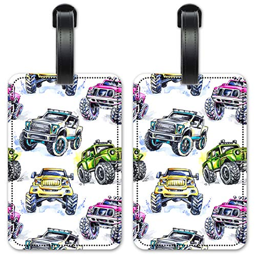 Monster Trucks Watercolor - Luggage ID Tags/Suitcase Identification Cards - Set of 2