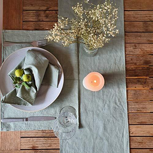 Hochwertiger Tischläufer aus 100% Leinen Stoff   Leinenläufer   Mit Liebe in Deutschland genäht   Viele Farben   modern & edel   pflegeleicht   40 cm breit, 150 cm lang   Uni Salbei
