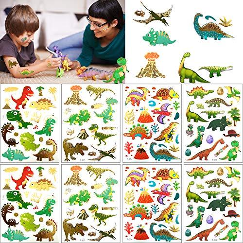 8 PCS Glitter Dino Tattoo,Tatuaggi per bambini Animali, Tatuaggi temporanei di dinosauro glitterato Set per tatuaggi per bambini/ Ragazzi Regali per feste di compleanno,bambini,Dinosaur Party