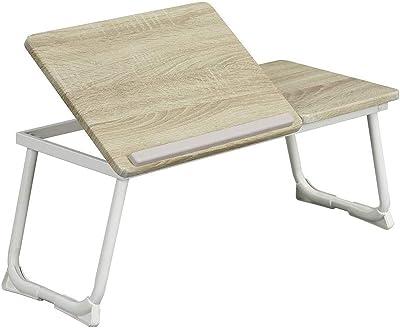 MEUBLE COSY Table de lit Support d'ordinateur Table pliable hauteur réglable Plateau finition chêne Piètement métal blanc L65-75.5xP3xH29cm MAMIE BEECH WHITE