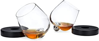 Aura Glass 14oz Stemless Cognac Snifter Glasses, Set of 2 - No Spill Spinning Aerating Brandy Glass - Includes 2 Wood Oak Coasters, Made in USA - Also Use for Scotch, Whiskey, Bourbon, Wine