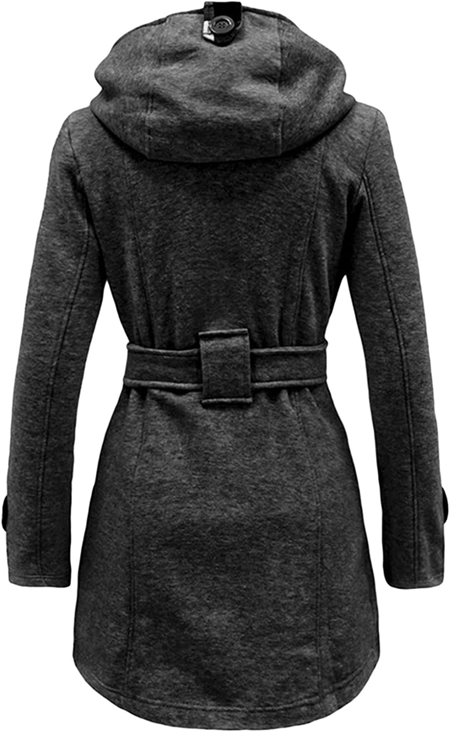 LXUICK Womens Long Sleeve Slim Pea Coat Mid-Long Solid Color Trench Coat with Belt