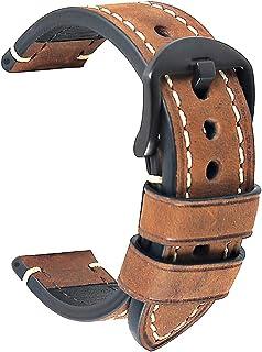 Bracelet Montre Noire Cuir Crazy Horse Men's Bracelet Classic Vintage Remplacement Panerai Bande Montre Applicable Sortes ...