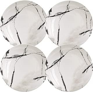 Natural Black Marble Porcelain Dinner Plate Set of 4