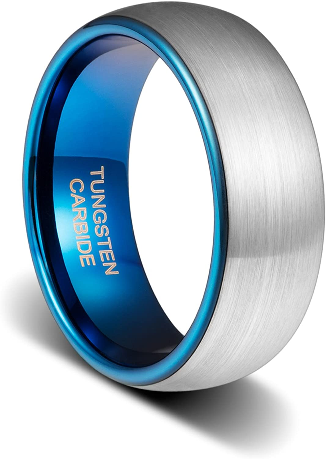 TUSEN JEWELRY 8mm Max 70% OFF Tungsten Wedding Dark Free Shipping Cheap Bargain Gift Ring Inside Plated Blue