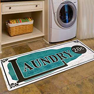 USTIDE Teal Rug Rustic Style Non Skid Floor Mat Laundry Room Mat for Washroom Mudroom Porch, 2x4