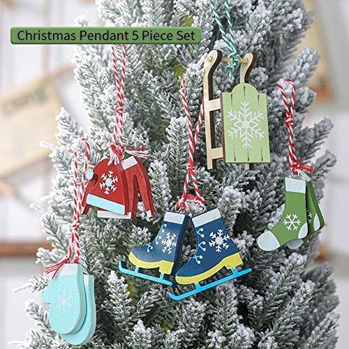 Decoratieset voor Kerstmis, dennenboom, hanger, decoratie, hangend, voor kerstboom, tuin, decoratie, handschoenen, sokken, skistlaarzen, hoedenkleding, slee