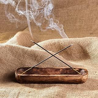 Wood Incense Stick Holder - Hand Made - Wooden Incense Burner, Ash Catcher, Trough Holds 2 Sticks