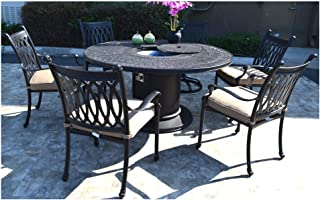 7 pc patio dining set Cast aluminum powder coated burner round table Grand Tuscany outdoor dining chairs and swivels.