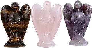 Sunligoo 3 Pcs Carved Natural Gemstone Peace Angel Pocket Guardian Angel Reiki Healing Crystal Statue 1.5 Inches - Amethyst + Rose Quartz + Tiger Eye Stone