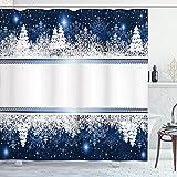 ABAKUHAUS Weihnachten Duschvorhang, Yule Winter-Border, Set inkl.12 Haken aus Stoff Wasserdicht Bakterie & Schimmel Abweichent, 175 x 200 cm, Dunkelblau-weiß
