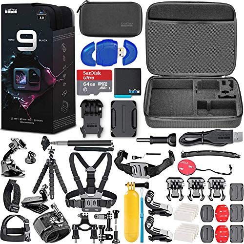 GoPro HERO9 (Hero 9) Action Camera (Black) with Deluxe Accessory Bundle – Includes: SanDisk Ultra 64GB microSD Memory Card, Carrying Case, Chest Mount, Head Mount, Floating Grip & Much More
