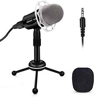 PC Microphone, ELEGIANT Y20 Portable Condenser Microphone 3.5mm Plug & Play with Tripod Stand Home Studio Recording Microp...
