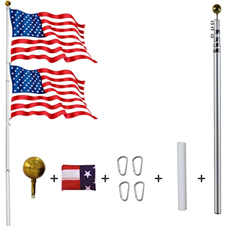 Ydisplay 25ft Telescoping Flag Pole Kit With 2 Flags Golden Top Ball Clips Telescopic Flag Heavy Duty 16 Guard Alumium For Residential President S Day Labor Day Garden Outdoor