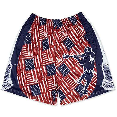 Premium Lacrosse Athletic Shorts | Patriotic USA Lax | Adult X-Large