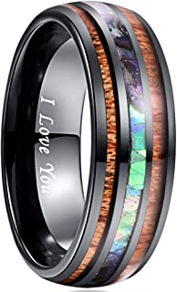 VAKKI 8mm Hawaiian Koa Wood and Abalone Shell Tungsten Carbide Rings Wedding Bands for Men Comfort Fit Size 4 to 17
