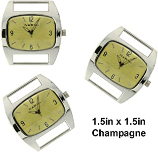 PlanetZia 2pcs Rectangle Ribbon Watch Faces for Your Interchangeable Beaded Bands TVT-1086CH
