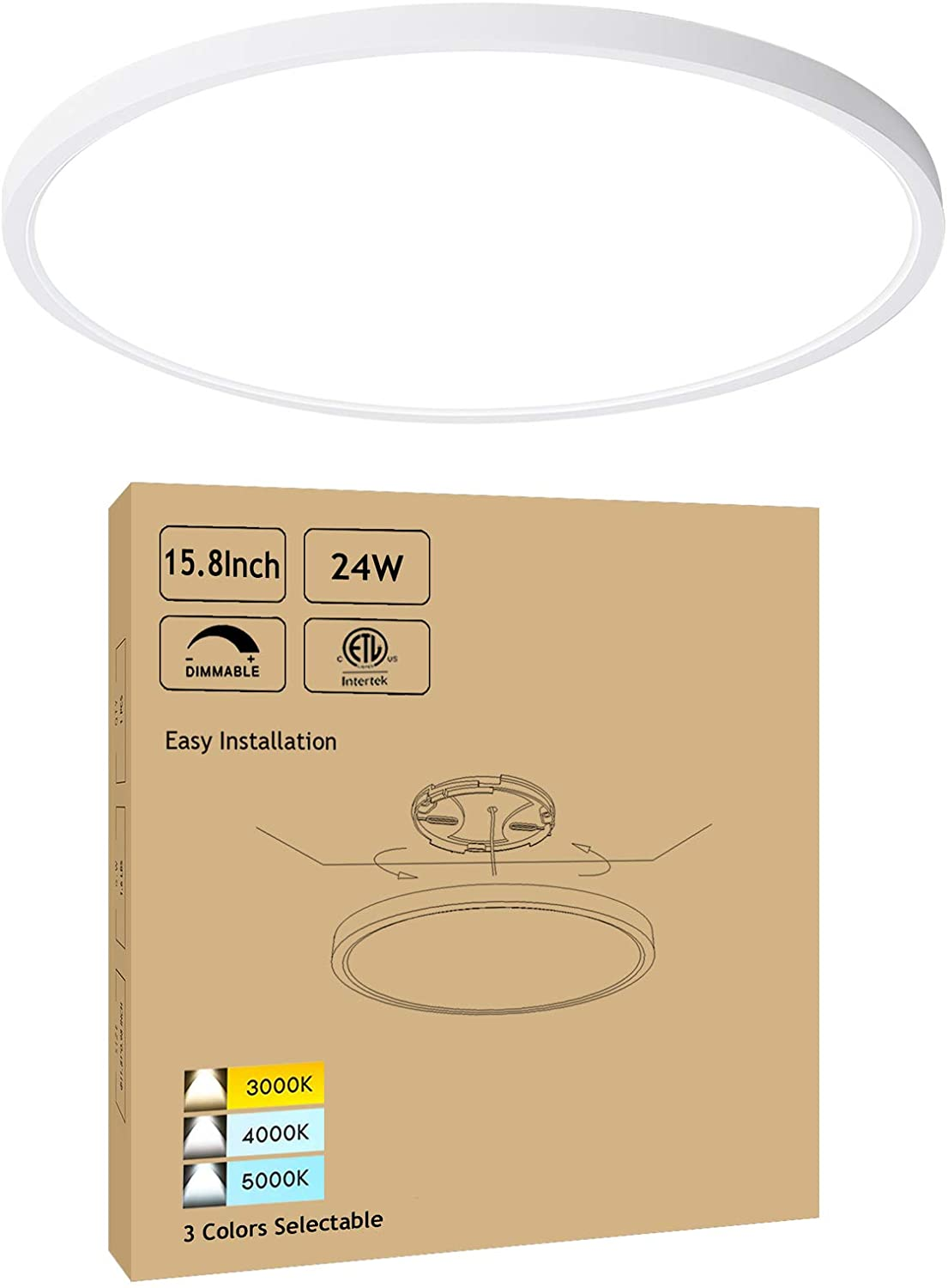 15.8 Inch Dimmable LED Ceiling Light Flush Mount - Low Profile 24W 3000K-4000K-5000K 3 Color Temperature Selectable - White Ultra Thin Modern Surface Mount Ceiling Lamp for Residential
